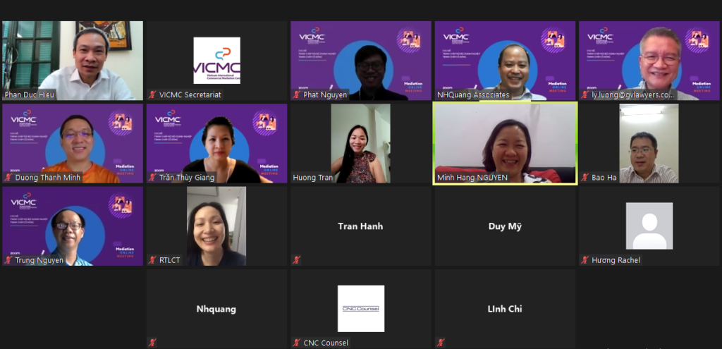 Các Hòa giải viên VICMC trong Buổi trao đổi về Tranh chấp cổ đông ngày 03/07/2021